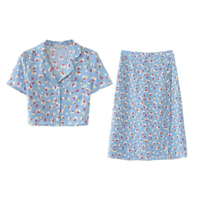 Bella philosophy new women Print Floral Short Blouse Female Holiday V-Neck elegant Shirts summer ladies blouse skirt set