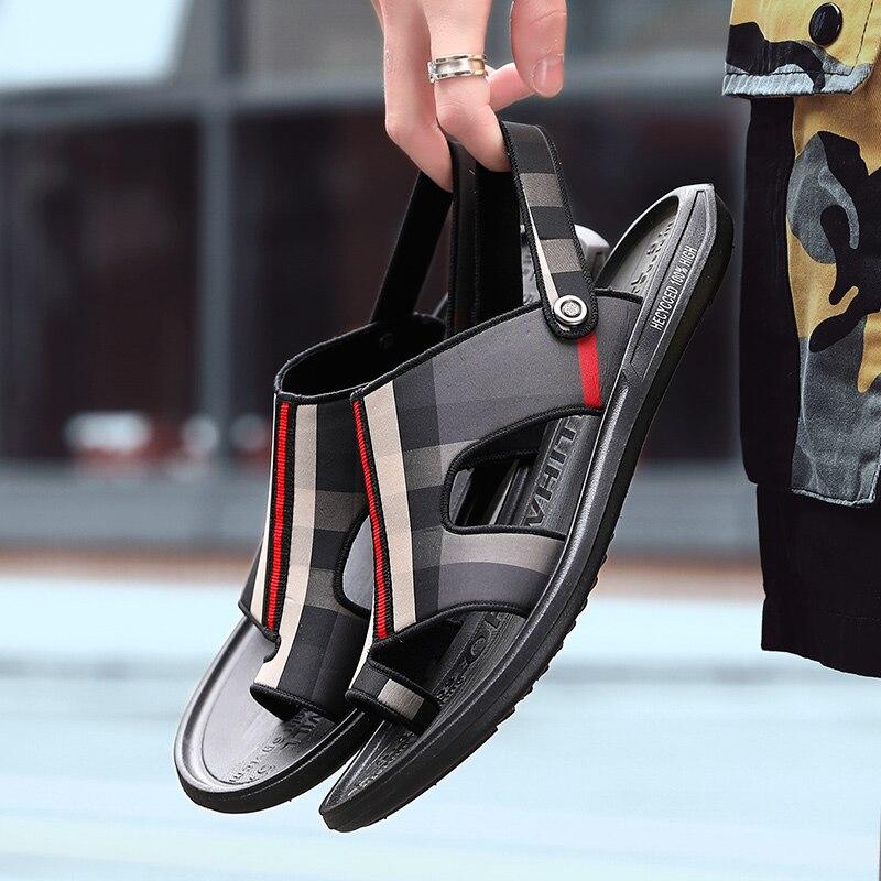 2020 New Summer Luxe Cuir Brand Slipper Men 39 Sandals Beach Mens Roman Close Toe Fashion Sandalhas Sandalia Masculina Hot Sale