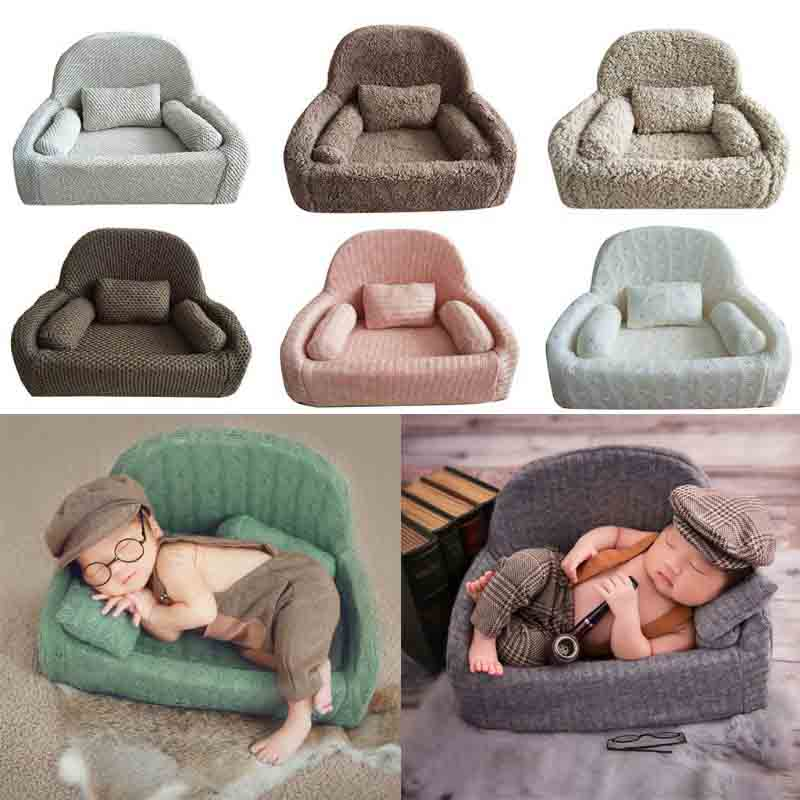 4Pcs Newborn Photography Props Baby Posing Sofa Pillow Set Photo Studio Baby Photo Chair Decoration Infant Studio Shooting Props