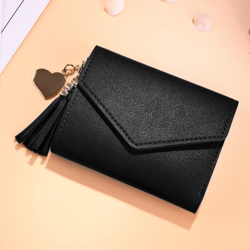 Кожаный кошелек с кисточками для женщин, маленький роскошный бренд, известные мини женские кошельки, кошельки, женские короткие Портмоне на молнии, кошелек Cartera Mujer - Цвет: Pure-Black