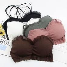 Senhora cinta bonito push up bandeau superior de algodão confortável verão tubo topo para meninas estilo fino respirável bralette