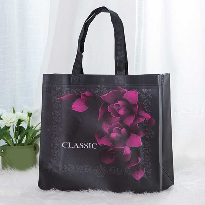 Non-woven Fabric Rose Flower Shopping Bag Tote Bag Reusable Pouch Women Travel Large-capacity Storage Bags Handbag
