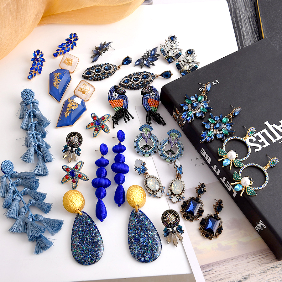 Ztech 32 дизайн синий кристалл/Кисточка/Ресина Серьги pendientes mujer moda 2019 Za новые большие эффектные Оптовые аксессуары для ушей