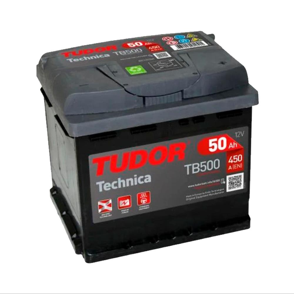 Tudor TB500 Batería de coche - 12 V 50Ah 450A (EN) - Positivo a la Derecha - Medidas 20,7 X 17,5 X 19