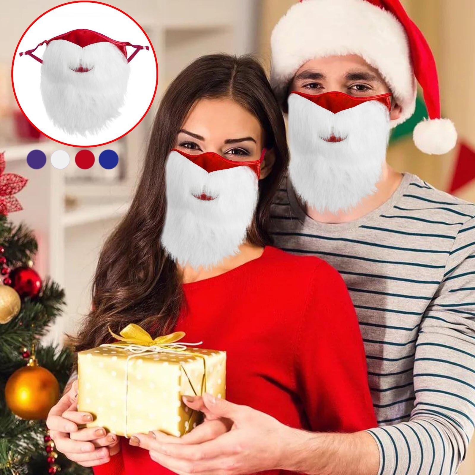 Noël 3D drôle masque facial adulte réutilisable lavable tissu masques père noël bouche barbe imprimé visage couverture Mascarillas Navidad
