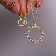 17KM New Bijoux Crystal Star Moon Sun Necklace Set 2020 Gold Dangle Earrings For Women Gift Elegant Fashion Jewelry Set Gifts(China)