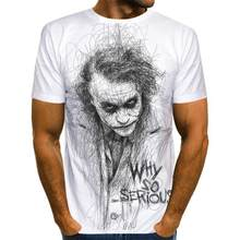 Camiseta 3D de payaso blanco para hombre, Joker cara de camiseta estampada, informal, divertida, de manga corta, Tops110-6XL
