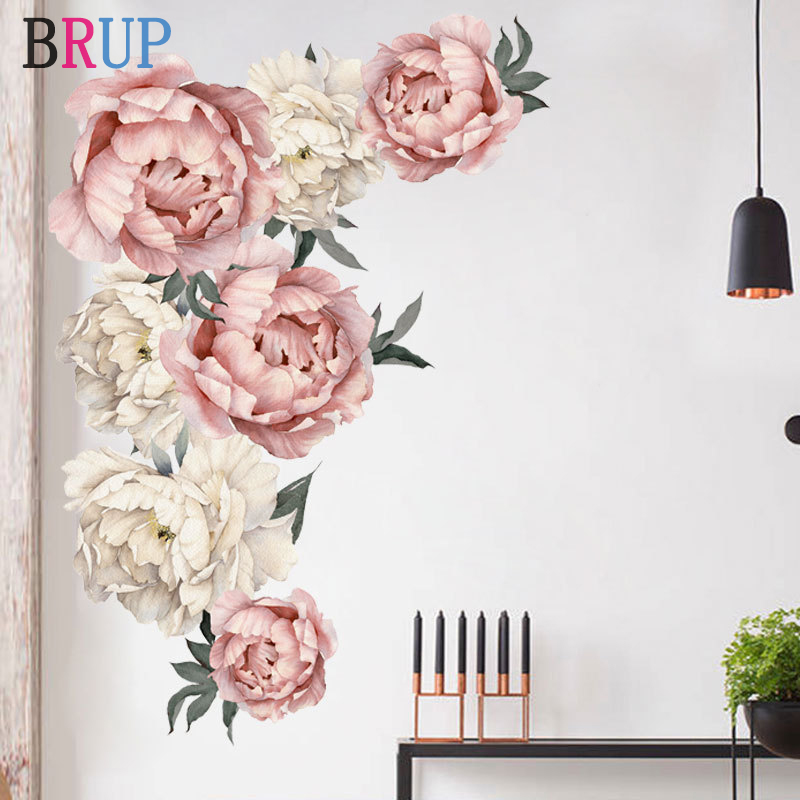71.5x102cm Large Pink Peony Flower Wall Stickers Romantic Flowers Home Decor For Bedroom Living Room DIY Vinyl Wall Decals