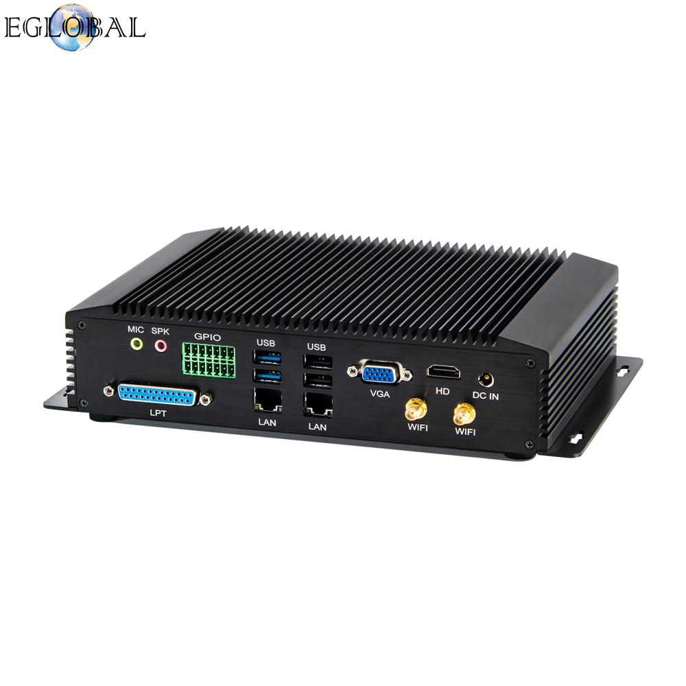 Eglobal DDR4 Industrial Mini Pc 2* Lan 6*com Intel Core I5 8250U I7 8550U Rugged Fanless Computer GPIO LPT HDMI VGA 3G/4G WiFi