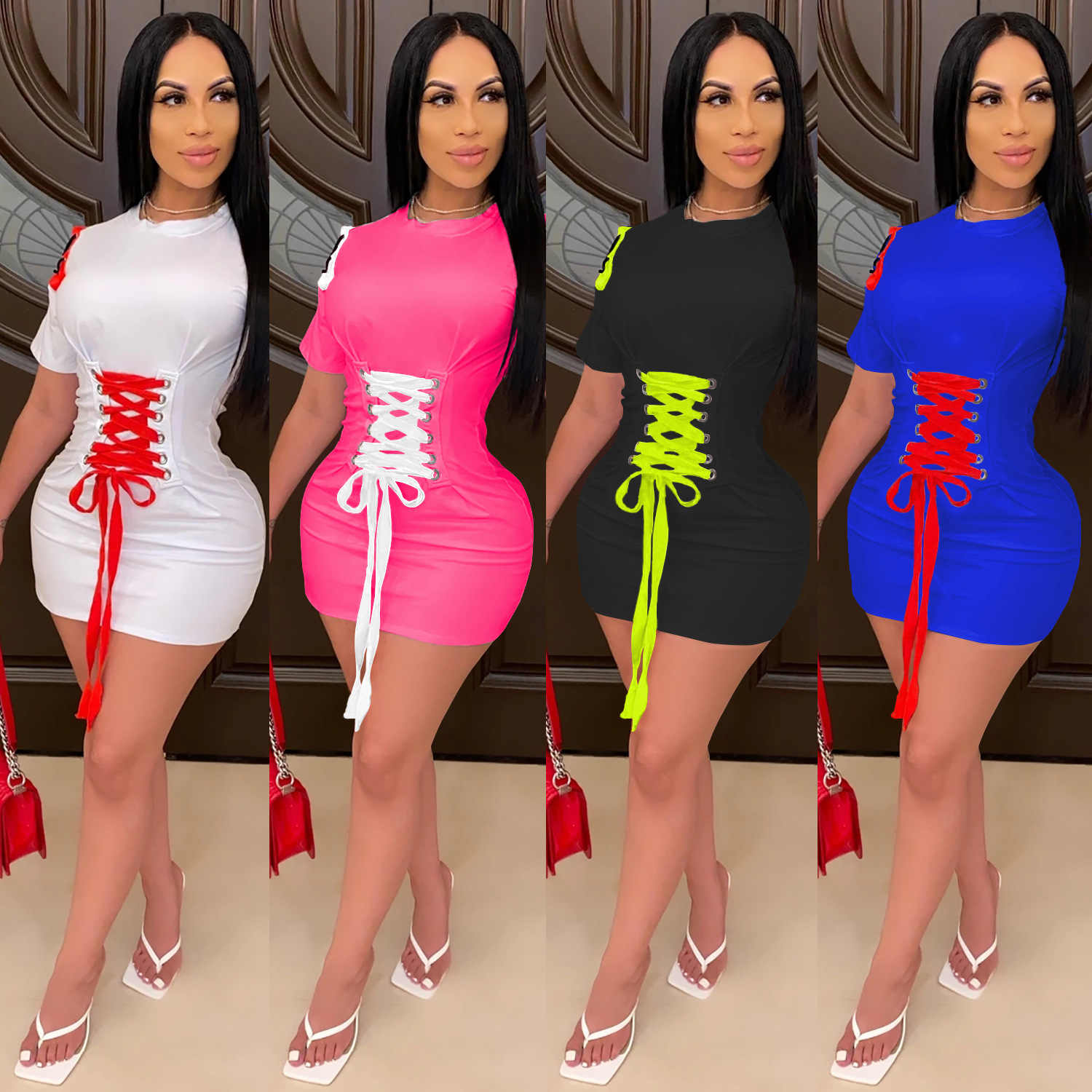 Zoctuo Solid Patchwork Sexy Bodycon Jurken Voor Vrouwen Korte Mouwen O-hals Party Sexy Mini Jurk 2020 Zomer Bandage Casual Dress