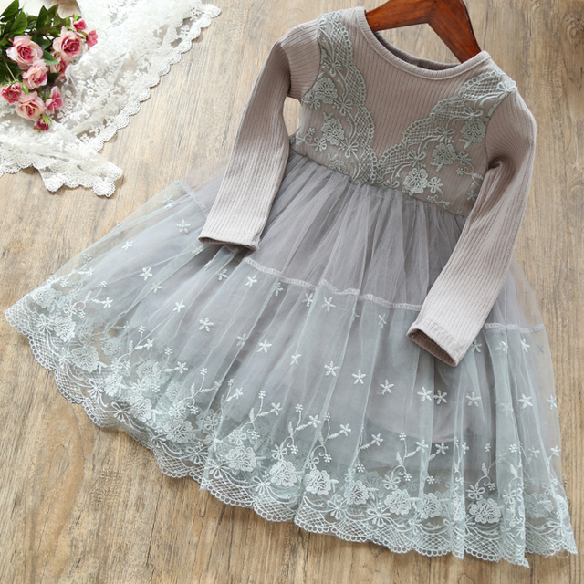 Long Sleeve Girls Dress 2020 Winter Lace Flower Dress for Girls Floral Ball Gown Baby Girl Clothes Kids Dresses for Girls Wear 2