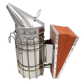 1 Pc Beekeeping Tool Stainless Steel Bee Hive Smoker Galvanized Iron With Heat Shield Protection 1