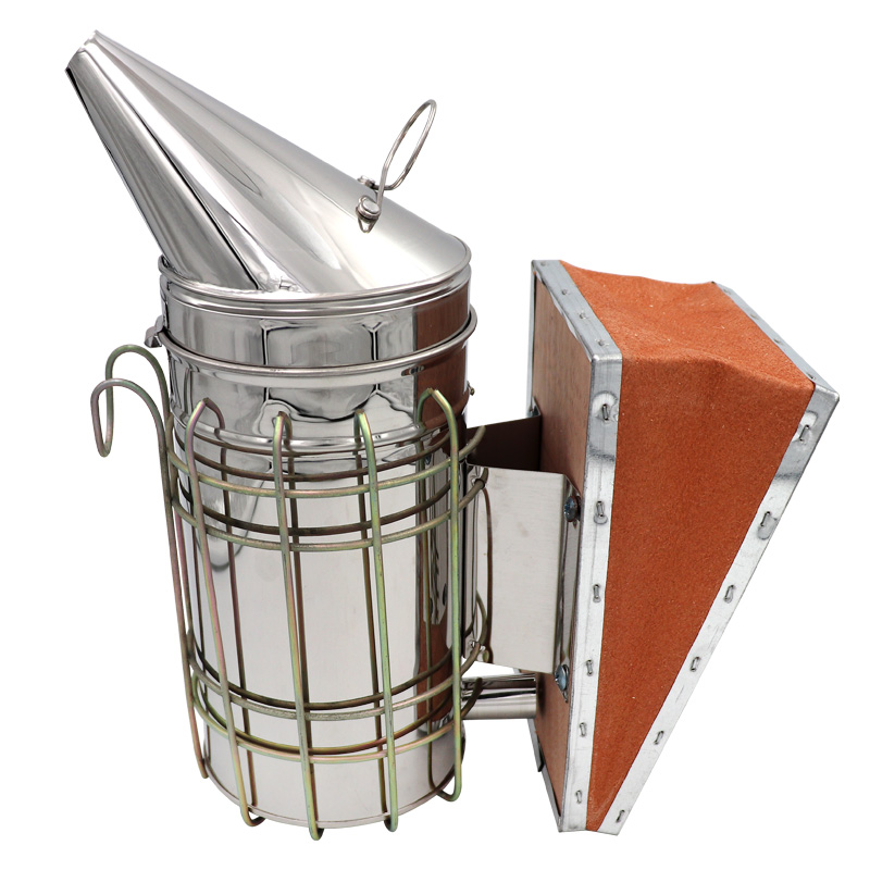 1 Pc Beekeeping Tool Stainless Steel Bee Hive Smoker Galvanized Iron With Heat Shield Protection Beekeeping Equipment