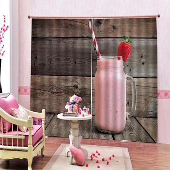 Fashion Customized 3D Curtains Strawberry glass on wooden board Photo 3D Curtains for Living Room Window