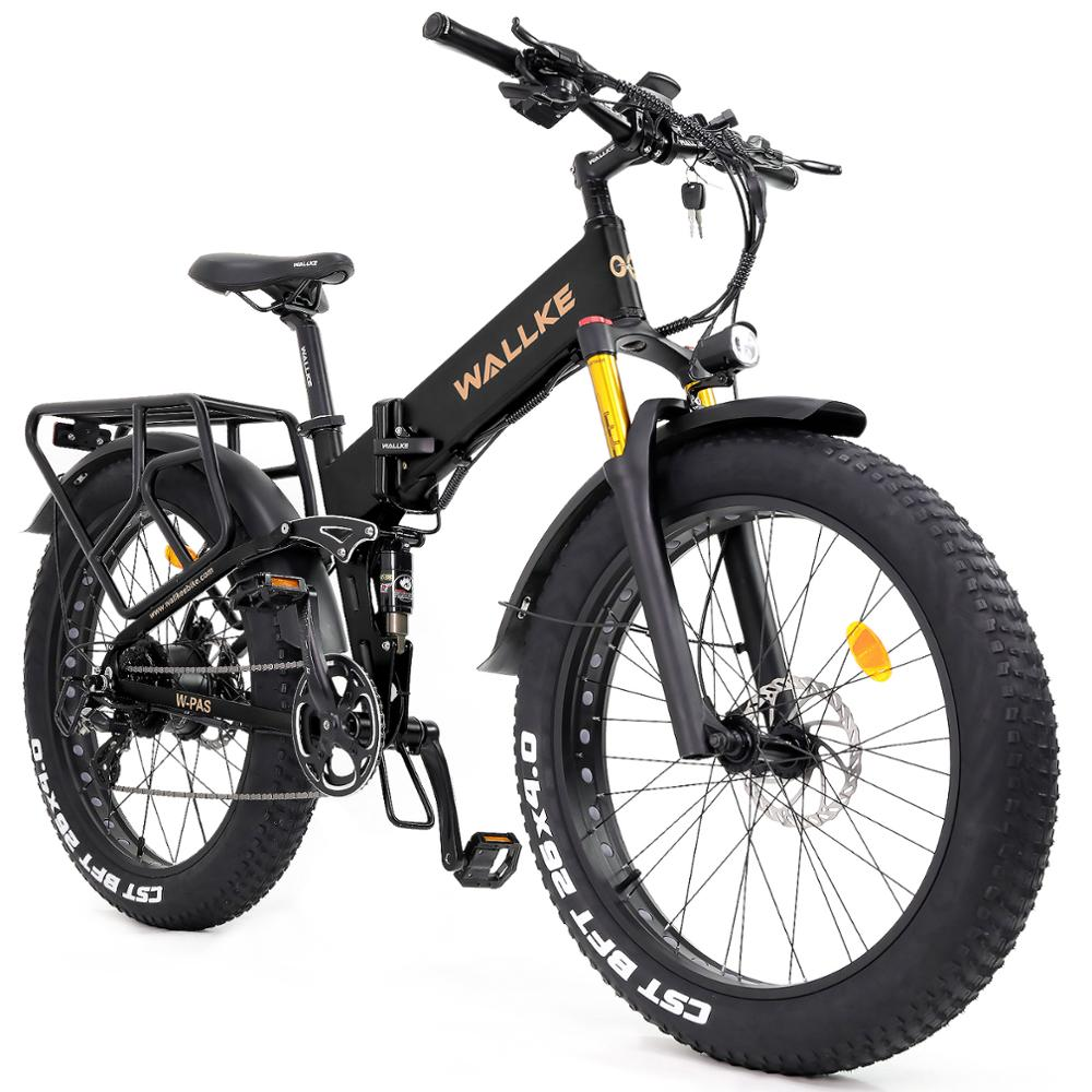 W WALLKE 750W Folding Electric Bikes for Adults 48V 14AH Lithium Battery Ebike Full Suspension 26 Inch Fat tire Electric Bicycle