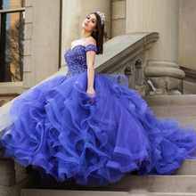 Ball-Gown Quinceanera-Dresses Sequins Party Blue Princess Sweet 15 Tiered Beads