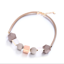Women Fashion Geometric Elements Necklace Color Wood Pendant Banquet Party Gift Jewelry