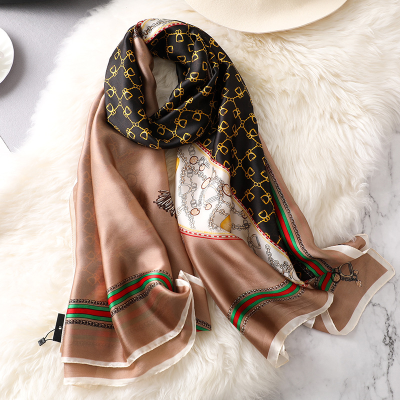 Spring And Autumn New Silk Scarf Female Gradient Hand-painted Silk Scarf Sunscreen Shawl Summer Beach Towel Silk Scarf