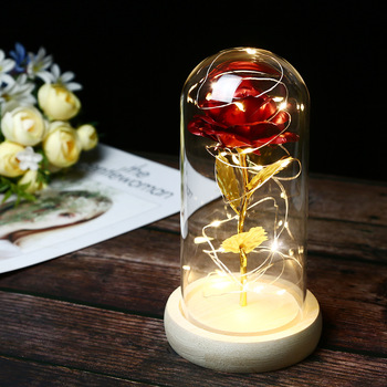 LED 7 color red rose glass dome wooden base beauty and the beast christmas valentine birthday gift for girlfriend and mother red rose with fallen petals in a glass dome on a wooden base birthday gift beauty