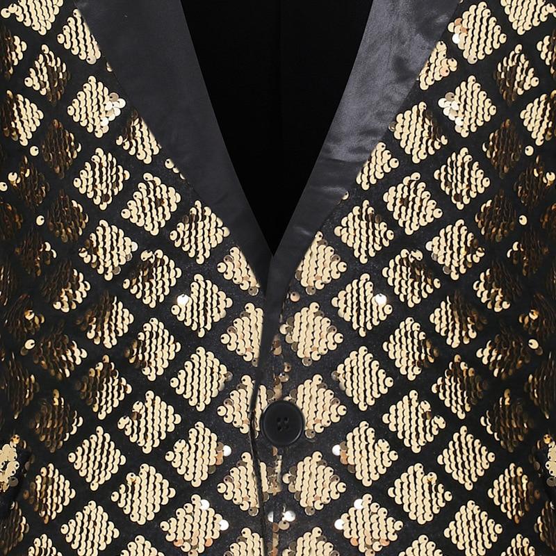 Image 3 - Блестящая блестящая куртка на одной пуговице, Мужской Блейзер, золотистый клетчатый смокинг в стиле пэчворк, мужской блейзер для ночного клуба, свадебной вечеринки, сценические костюмыПовседневные пиджаки   -