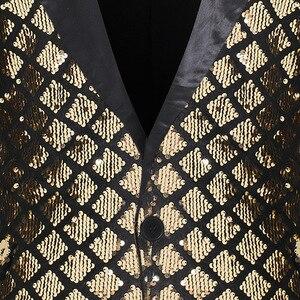 Image 3 - 光沢のあるスパンコールグリッターワンボタンジャケット男性ブレザーゴールドチェック柄パッチワークタキシードブレザー男性ナイトクラブウェディングパーティーステージ衣装