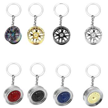 Creative Gift Stereo Car Modification Accessories Wheel Ring Pendant Key Waist Metal Ring Chain Keychain Advertising U7O6 image