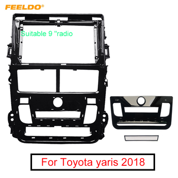 FEELDO Car Audio Radio 9 Big Screen Fascia Adapter Frame For Toyota yaris 2018 2Din Dash Stereo Fitting Panel Frame Kit image