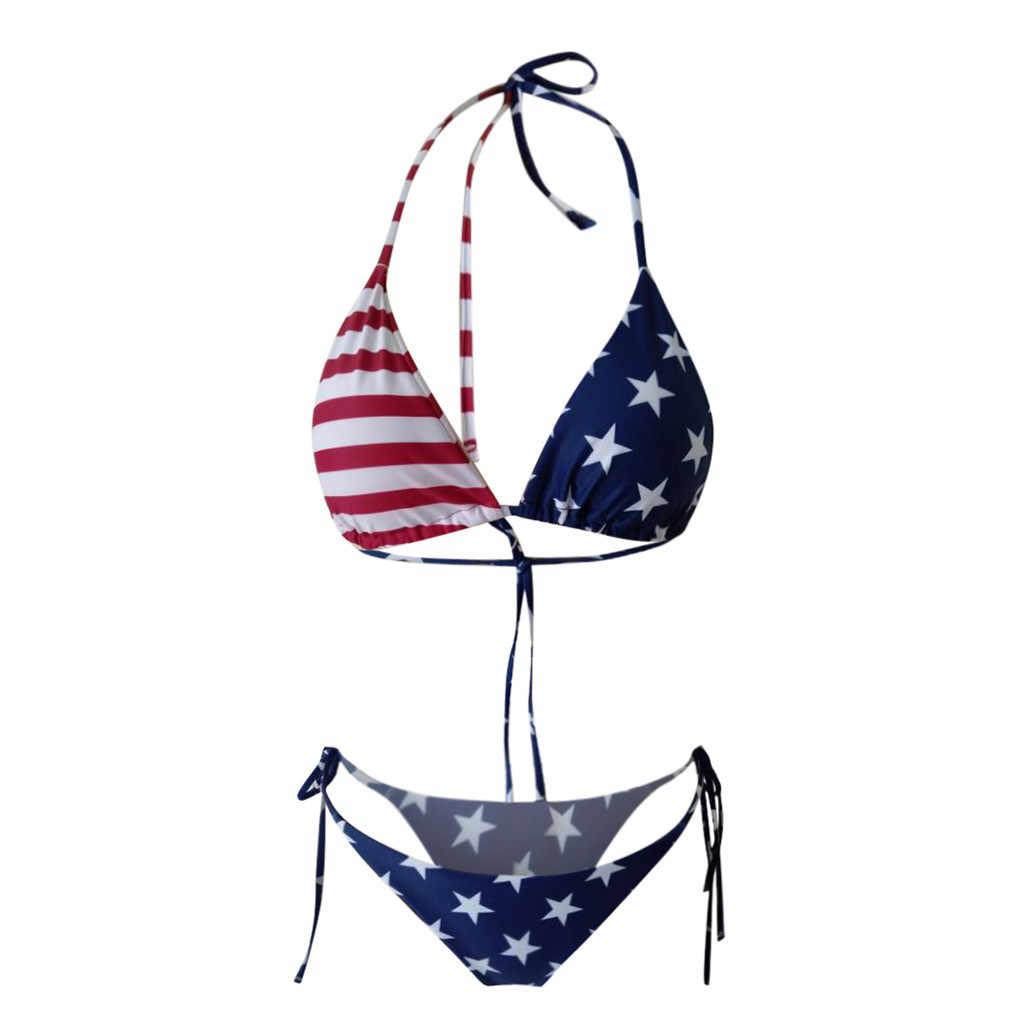 Stroje kąpielowe damskie bikini 2020 damski seksowny nadruk amerykańskiej flagi wysokie cięcie nogi Bikini zestaw dwuczęściowy strój kąpielowy bikini zestaw купальный