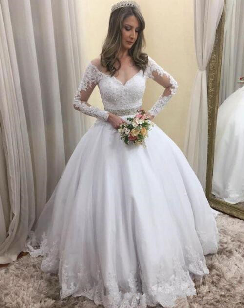 Luxury Wedding Dress Bridal Gown Off The Shoulder Lace Appliques Ball Gown Long Sleeves Vestido De Noiva Beaded Robe De Mariee
