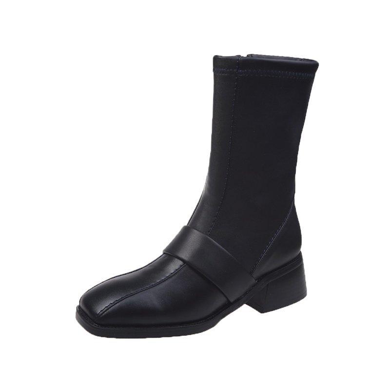 2020 winter fashion women boots casual zipper square heel ladies