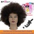 Манекен афро-волос, настоящие человеческие волосы, Парикмахерская голова, обучение в Африканском салоне, манекен, косметологическая кукла ...
