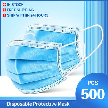 10-500 sztuk maska jednorazowe Nonwove 3 warstwy Ply maska z filtrem maska ochronna na twarz filtr bezpieczne oddychające maski ochronne tanie i dobre opinie RXMASK Chin kontynentalnych Personal NONE Jeden raz Dla dorosłych Non-woven Anti-Dust Mask face mask 10 50 100 Piece