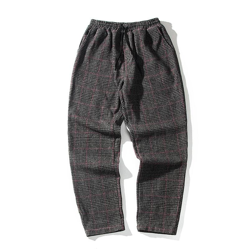 Winter Thickening Woolen Pants Men's Fashion Retro Casual Plaid Trousers Man Streetwear Wild Hip Hop Loose Straight Pants Men