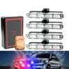 4x4 LED Strobe Light Bar Strobe Warning Police Light Truck Flashing Bar 12V with Remote Control Safety Lamp Marker Grille Lamp