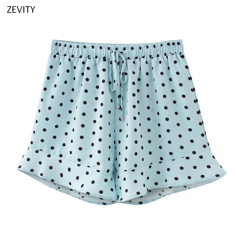 Zevity New 2020 Women Fashion Polka Dot Print Ruffles Shorts Ladies Elastic Waist Bow Tied Casual Shorts Pantalone Cortos P825