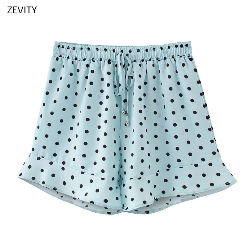 Zevity New 2020 Women Fashion Polka Dot Print Ruffles Shorts Ladies Elastic Waist Bow Tied Casual Shorts Pantalone Cortos P825