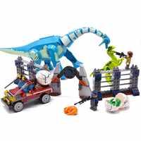 Dinossauros do jurássico Parque Fugir Do Mundo Novo Tiranossauro Dinossauro compatível legoinglys Conjunto de Blocos de Construção Crianças Brinquedos