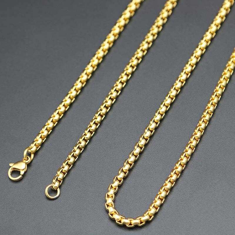 Długi naszyjnik srebrny złoty łańcuch 2mm 3mm 2.5mm 3.5mm skrzynka ze stali nierdzewnej naszyjnik łańcuch dla kobiet mężczyzn medalion wisiorek