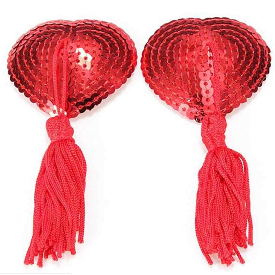 Mới Nóng 1 Gợi Cảm Pasties Dán Nữ Quần Lót Đầm Tua Rua Ngực Áo Ngực Núm Vú Bao Miếng Lót Trái Tim Nữ Pasties