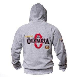 Image 2 - 2019 новые Олимпия мужские спортивные куртки с капюшоном тренажерные залы Фитнес футболка для бодибилдинга спортивные пуловеры мужские тренировки с капюшоном куртка одежда