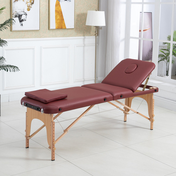 Spa Table  Adjustable Massage Bed 3 Fold Massage Couch Portable Salon Bed Alloy with square pillow  Portable backpack