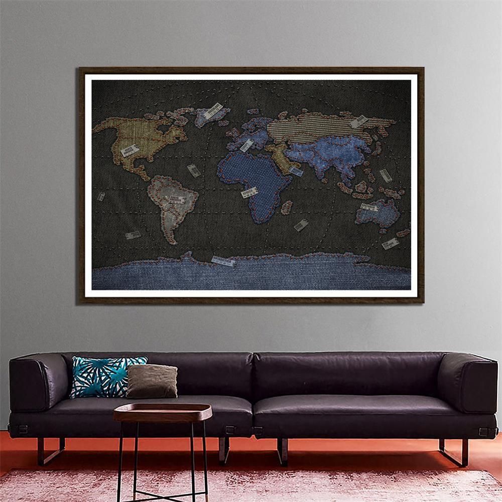DIY World Map Cowboy Style Fun Decorative Map 150x100cm Home Wall Decor Painting