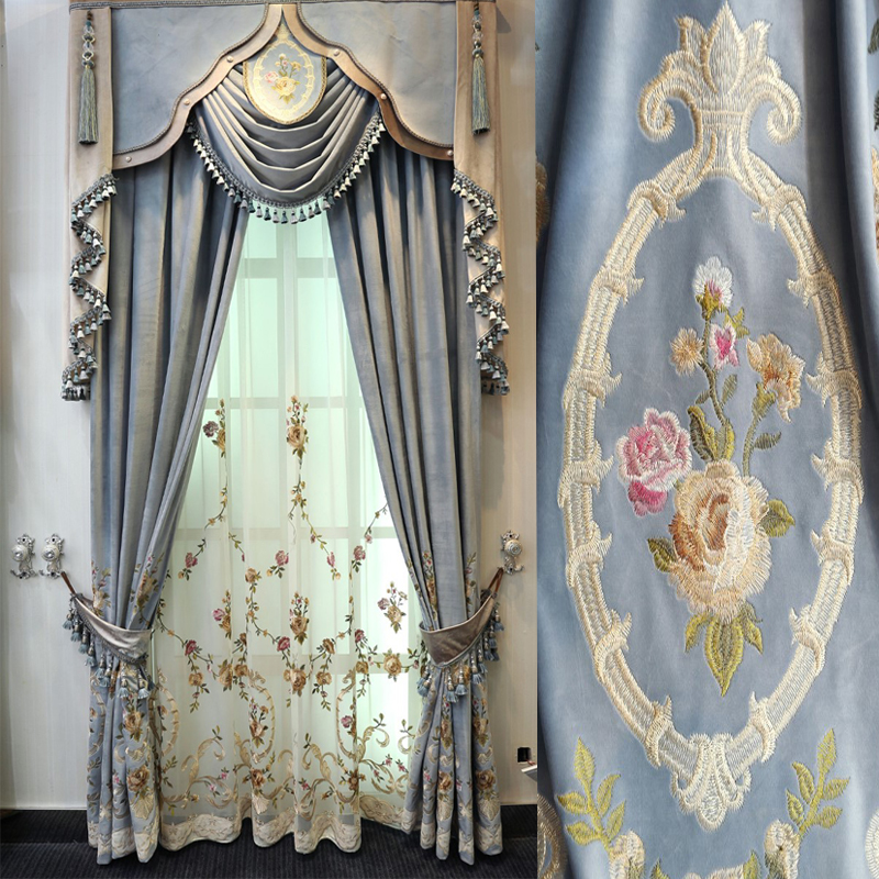 European Top luxury light blue velvet embroidered curtains for villa living room upscale hotel bedroom window decoration|Curtains| |  - title=