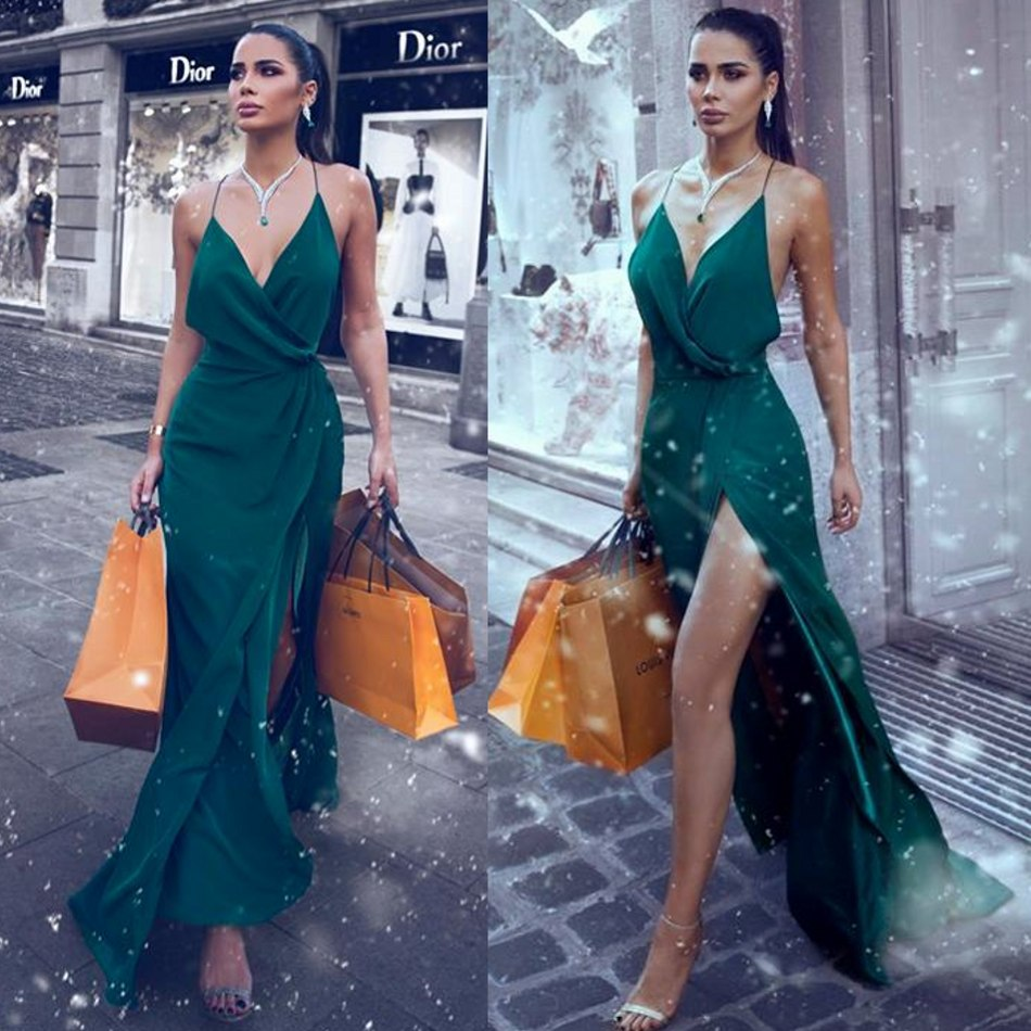 2020 Dark Green High Split Special Occasion Dresses  Spaghetti A Line Cheap Evening Dress Custom Made Sexy Prom Gowns