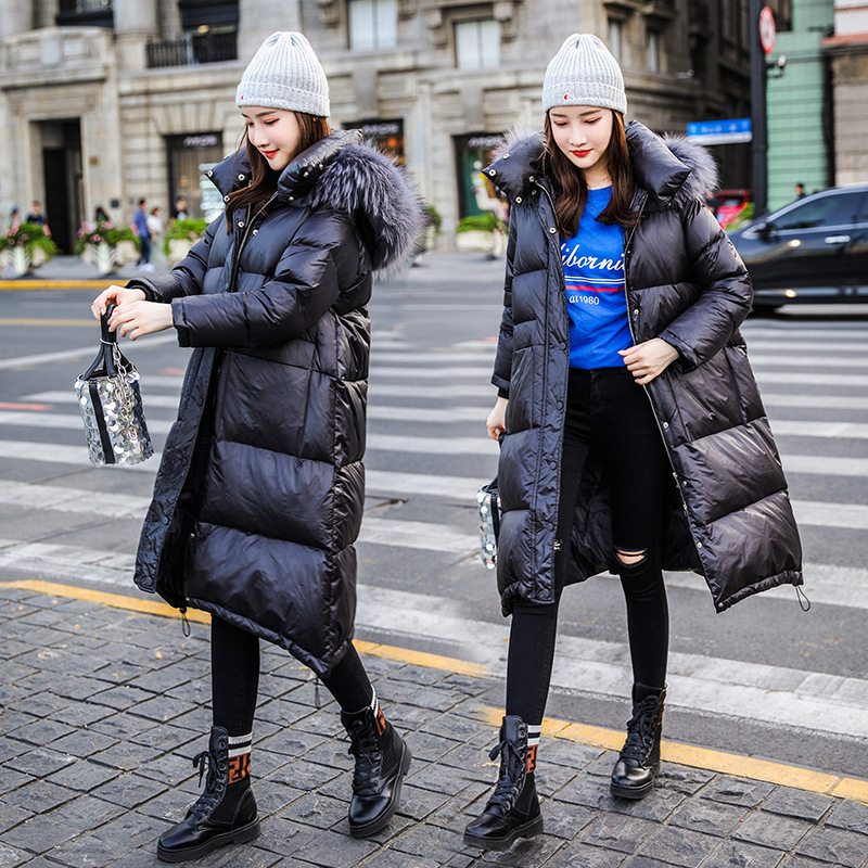 Winter Down Jacket Women Thick Warm White Duck Down Coat Famale Raccoon Fur Hooded Clothes Long Casual Outwear Hiver 6668