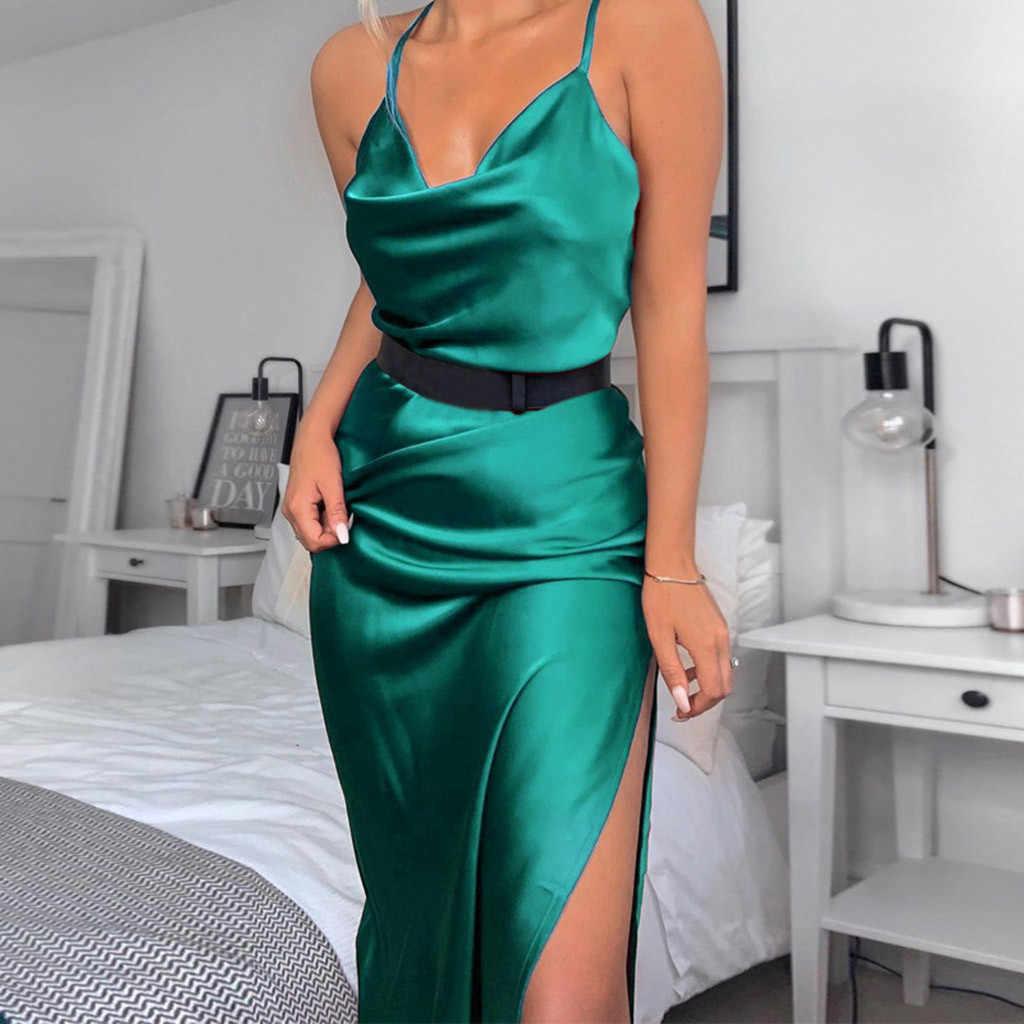Solid Party Dress V Neck Romantic Dress Spaghetti  Strap Backless Midi  Elegant  Evening Party Womens Clothing Dresses