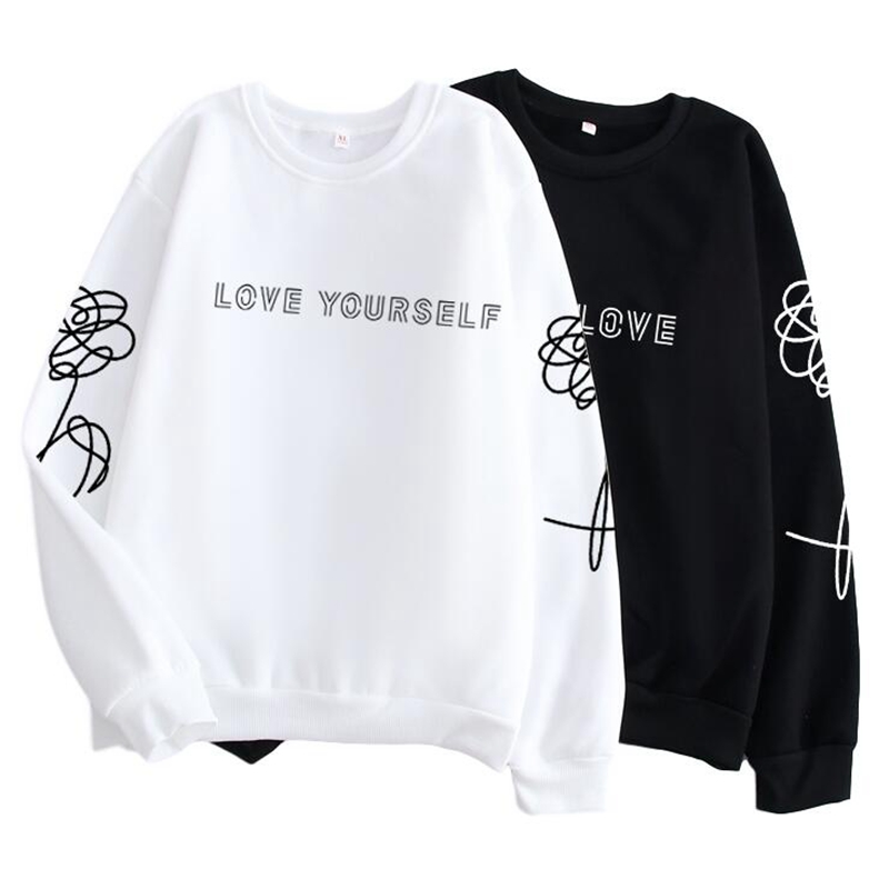 Kpop Harajuku Style Clothes Love Yourself / Fake Love K-pop Jersey, Hipster, Instagram Girlfriend Gift, K Pop Shirt Jimin