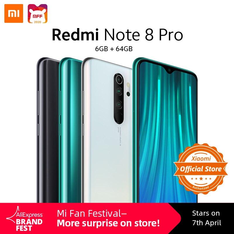 Global Version Xiaomi Redmi Note 8 Pro 6GB 64GB Smartphone MTK Heilo G90T Mobile Phone 18W Quick Charge 64MP Camera 4500mAh NFC