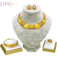 African Jewelry Sets Womens Fashion Double Color Collision Crystal Necklace Earrings Ring Bracelet Wedding Engagement