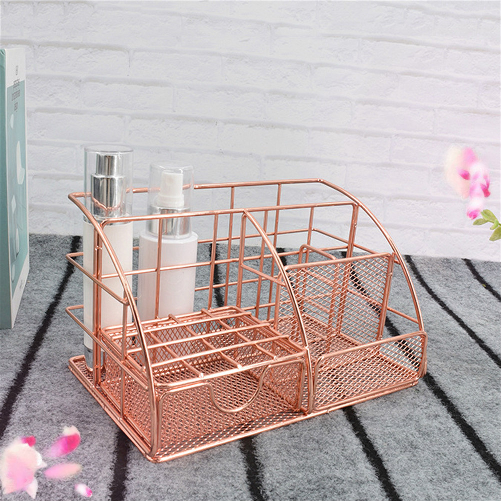 2019 Wrought Iron Desktop Storage Rack Office File Pen Storage Holder Simple Home Cosmetics Toiletries Storage Rack